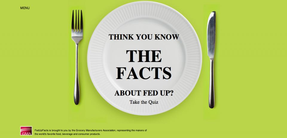 La pagina di propaganda Fed Up Facts:cliccandola, si atterra sulla home del gioco.