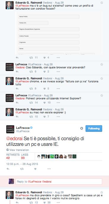 Un bug di sistema rimette in crisi il social media management di Trenitalia nell'agosto 2015