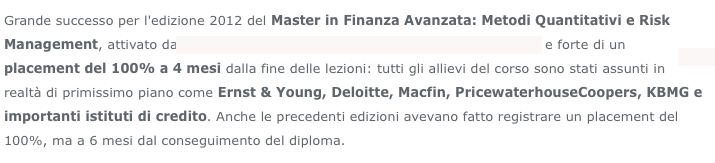 Master in finanza avanzata SenzaFiltro