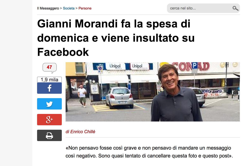 Gianni Morandi spesa