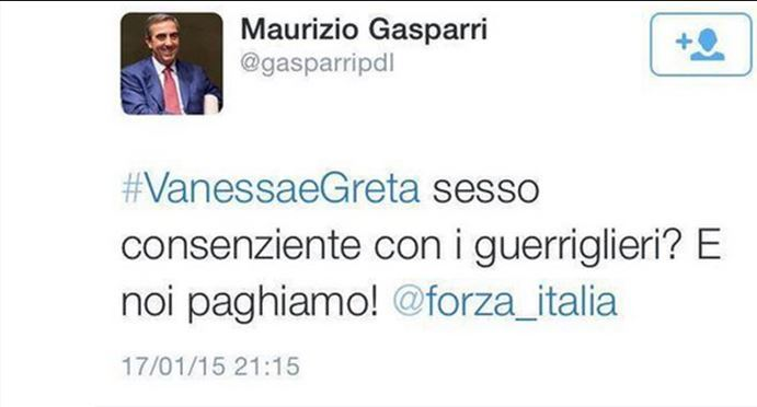 Tweet Gasparri Greta e Vanessa