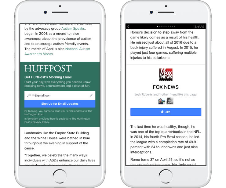 Instant Articles di Facebook