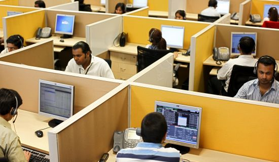 Foto di un contact center indiano