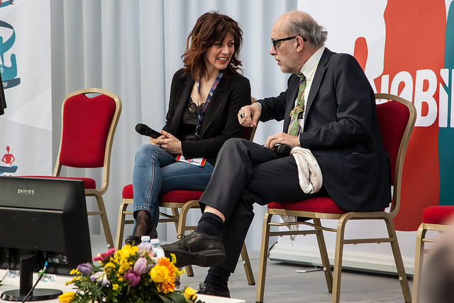 Sul palco di Nobìlita Stefania Zolotti e Bruno Perini presentano l'intervista a Tito Boeri