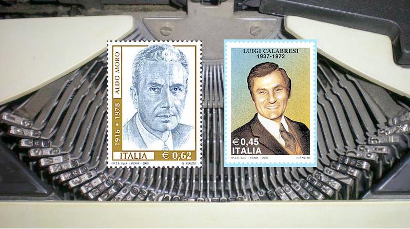 Francobolli di Moro e Calabresi, le cui vicende sono state trattate dal giornalista Michele Brambilla