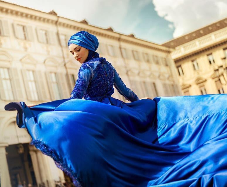 Un vestito di alta moda con hijab, prodotto della imprenditoria migrante