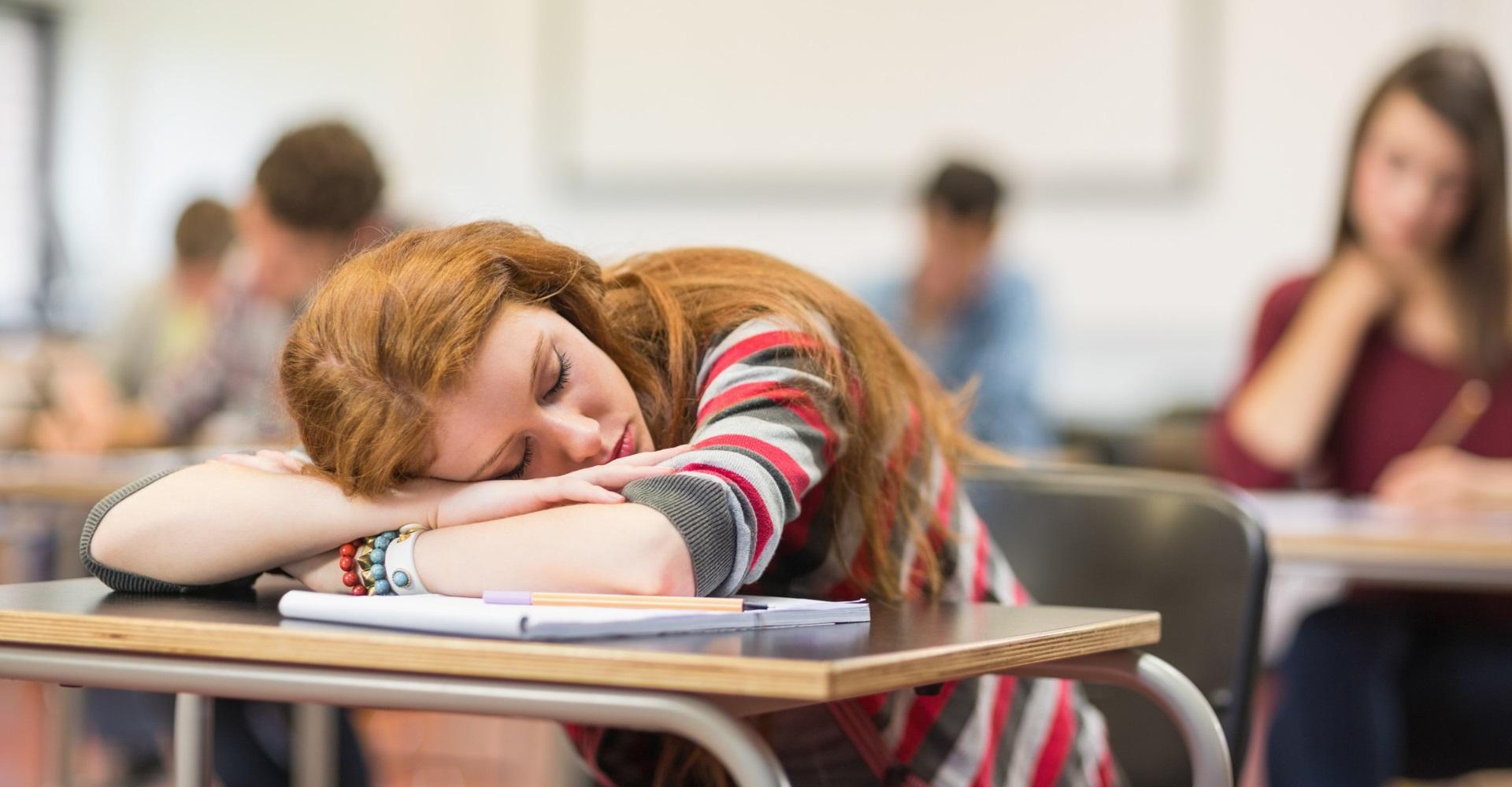 Una giovane donna dorme su un banco, vittima delle storture della formazione italiana