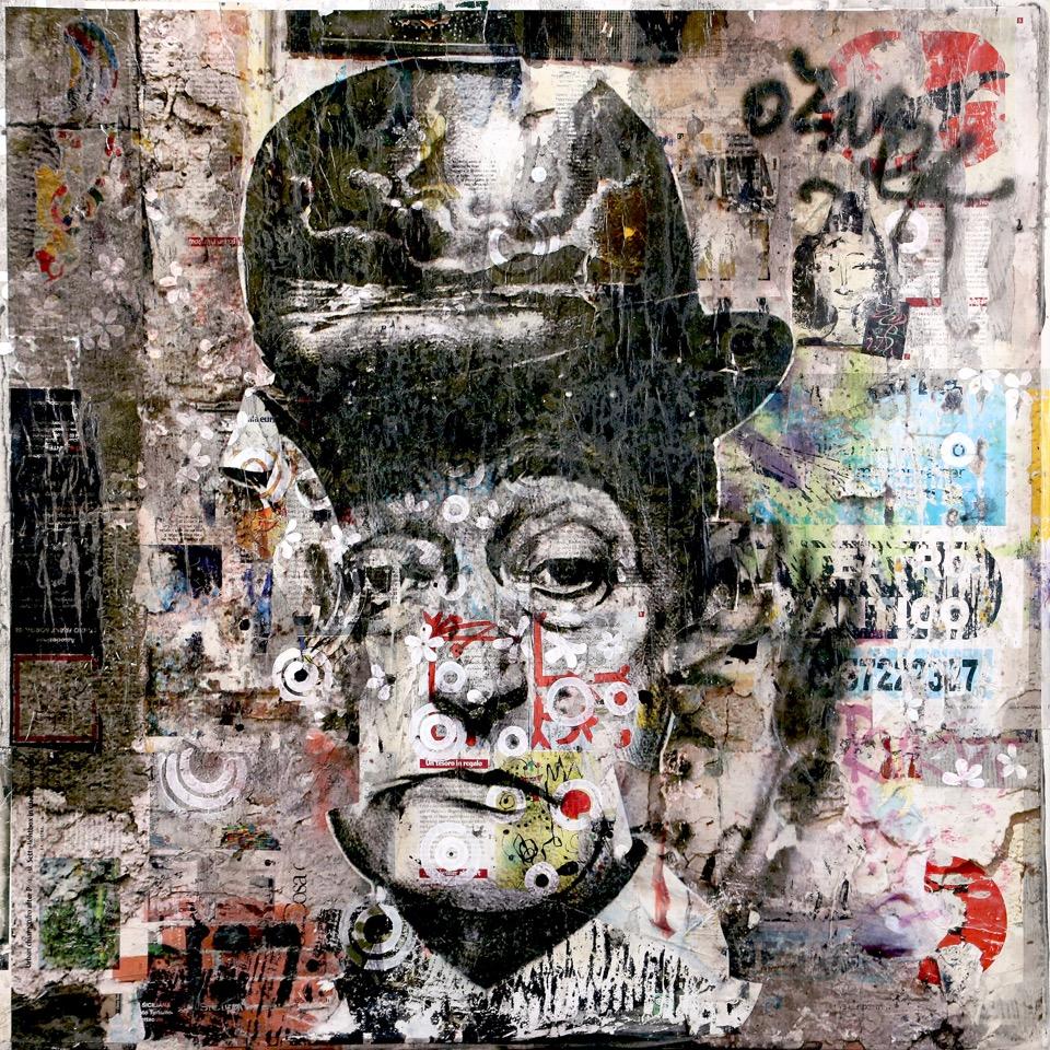 Un vecchio manifesto di Totò elaborato dalla street art.