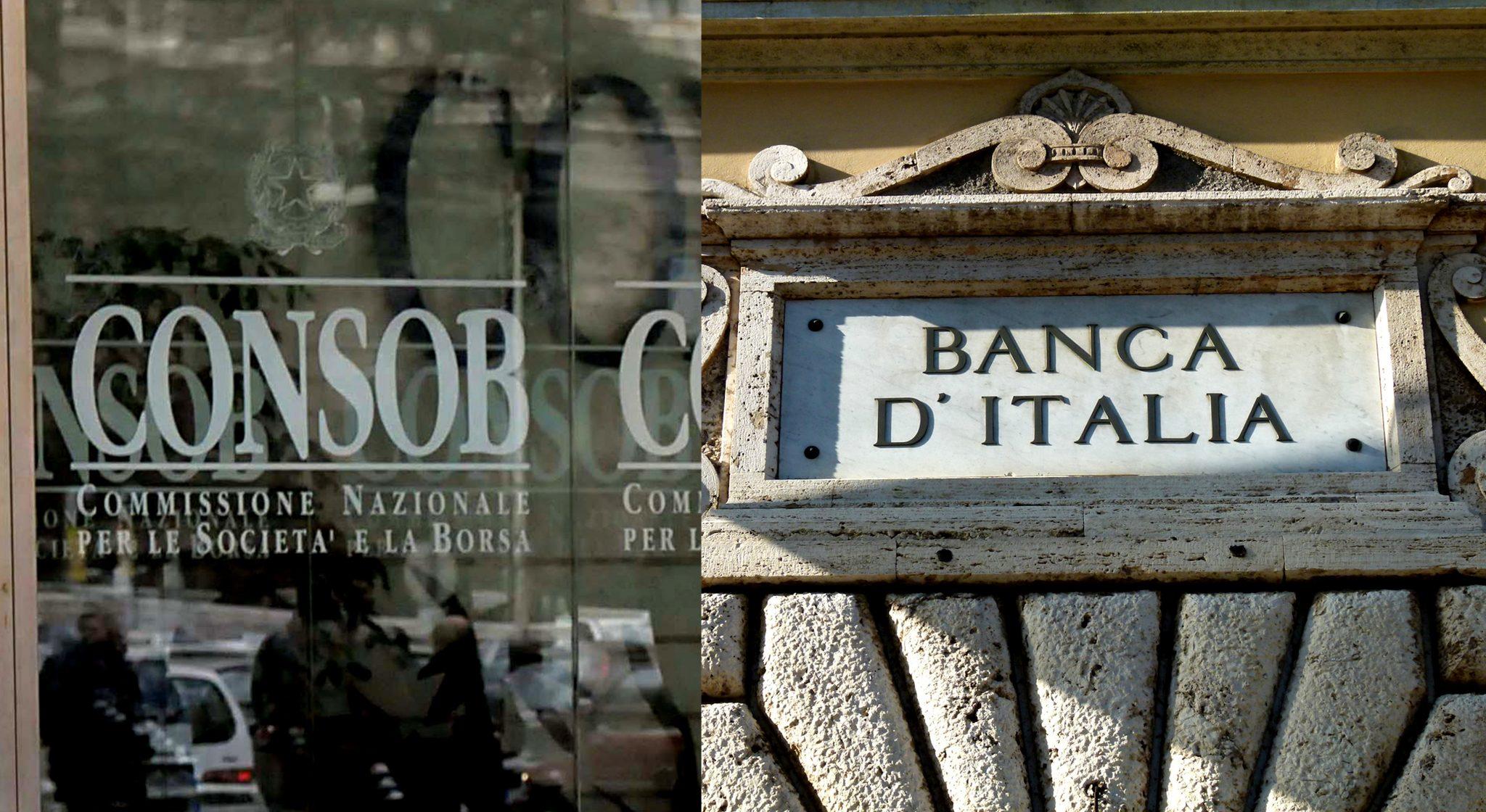 Le insegne di Consob e Banca d'Italia, le autorità di controllo degli istituti di credito italiani