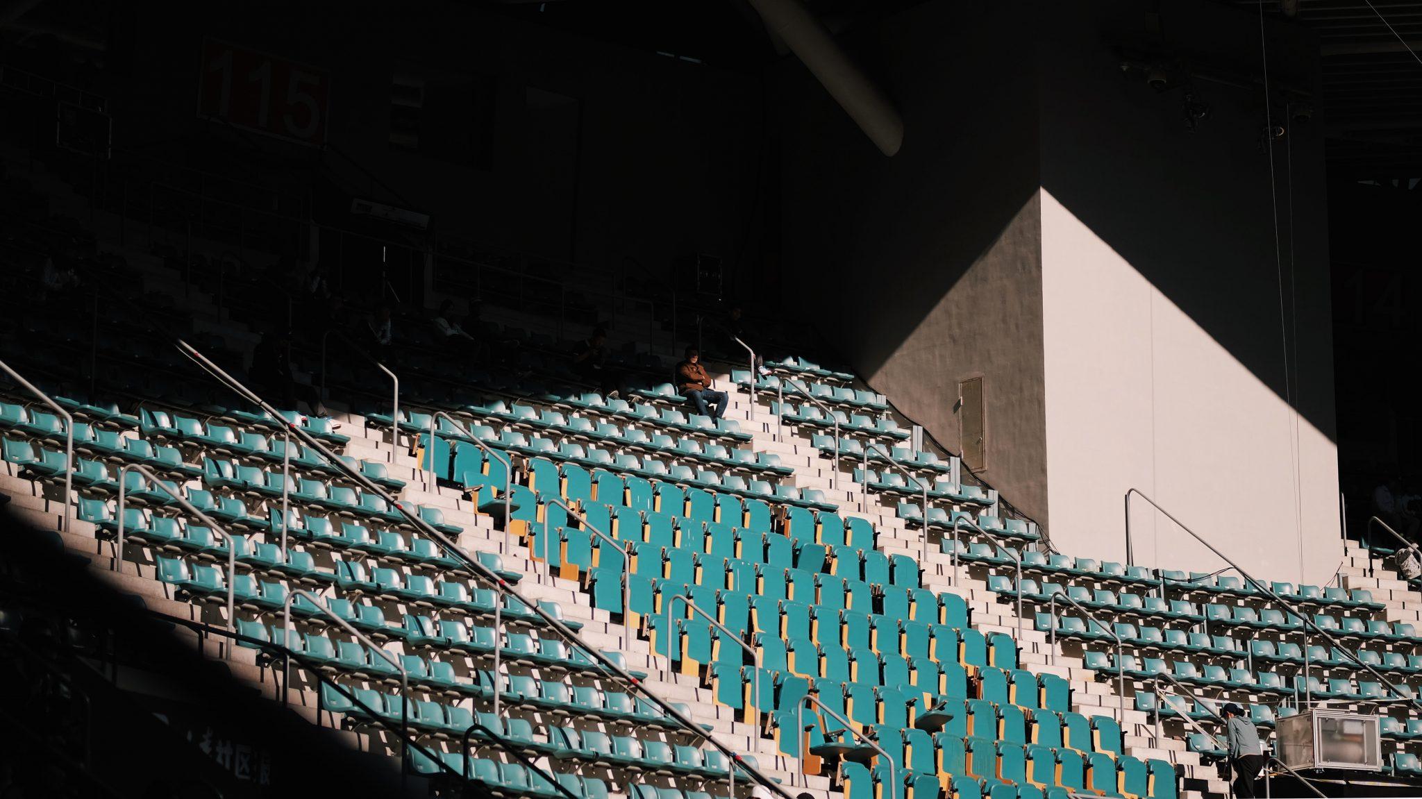 Lo stadio del Matera Calcio sguarnito di tifosi.
