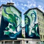 Una facciata del quartiere Lunetta di Mantova, impreziosita da un murales