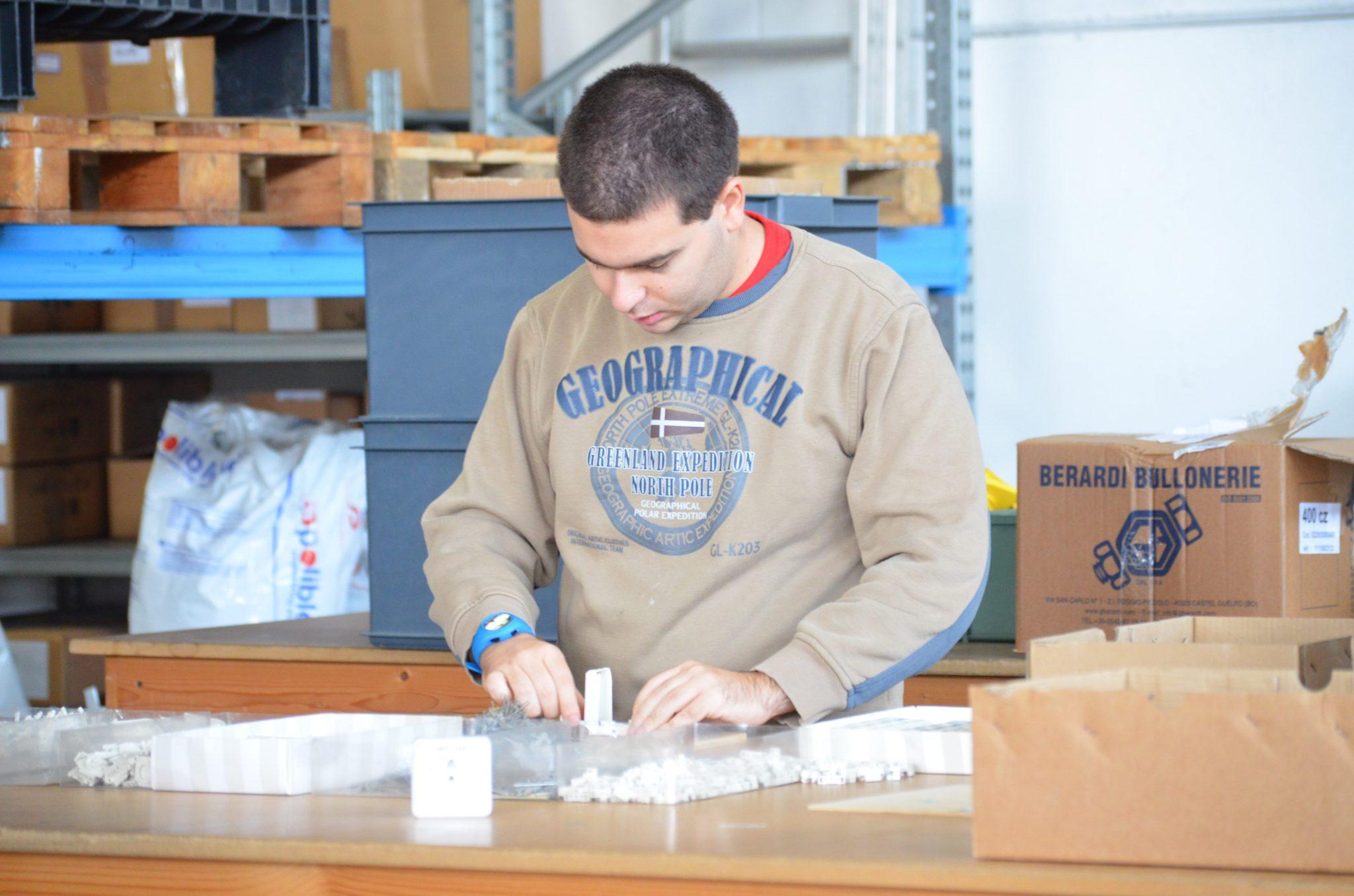 Un esempio di autismo e occupazione: un ragazzo autistico al lavoro con l'assemblaggio nell'Officina.