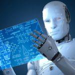 Editoria e intelligenza artificiale: un automa consulta uno schermo digitale