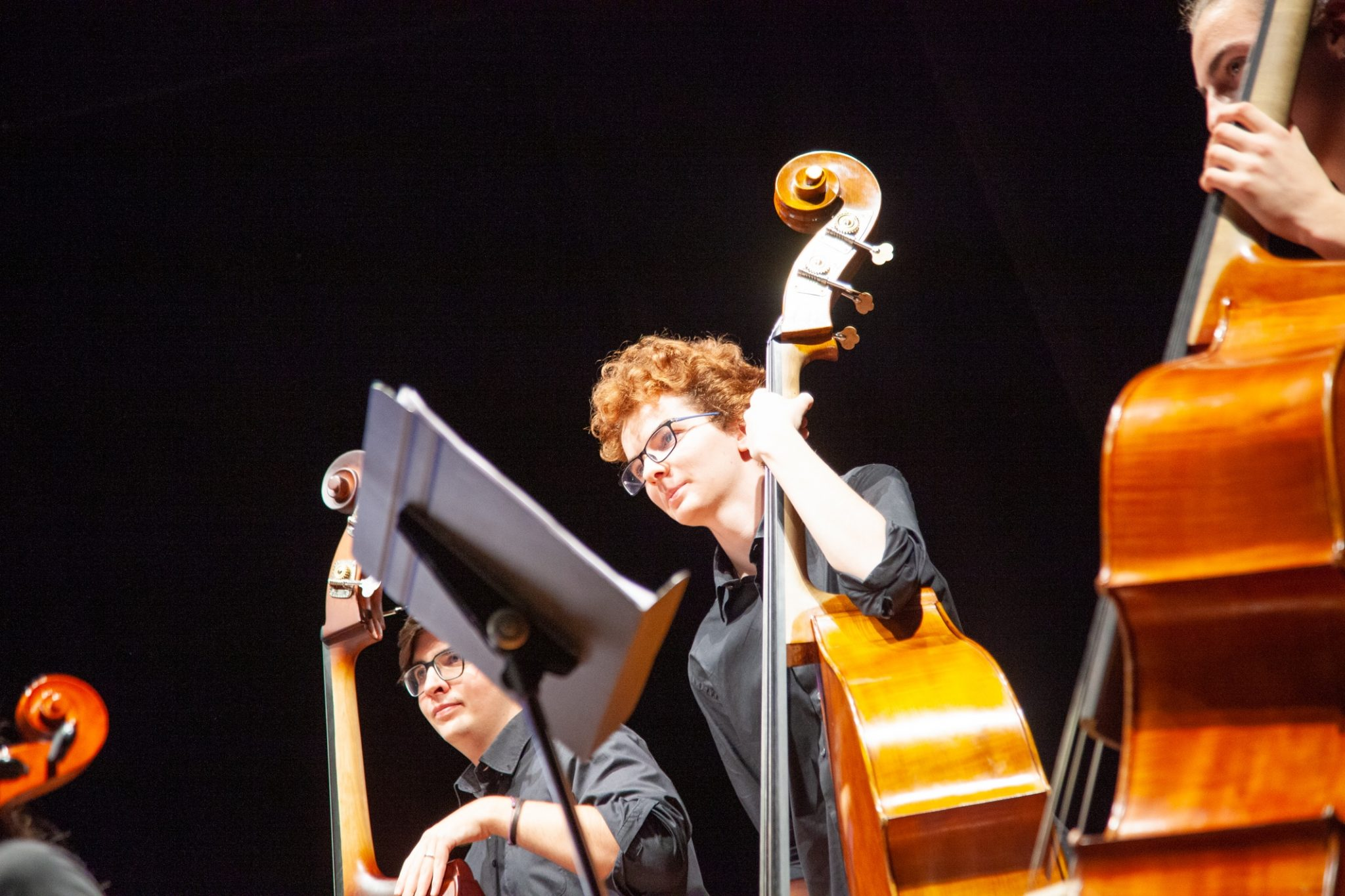 Dei ragazzi di una scuola di musica durante un concerto sinfonico.