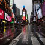 New York, le strade deserte a causa del virus cinese.