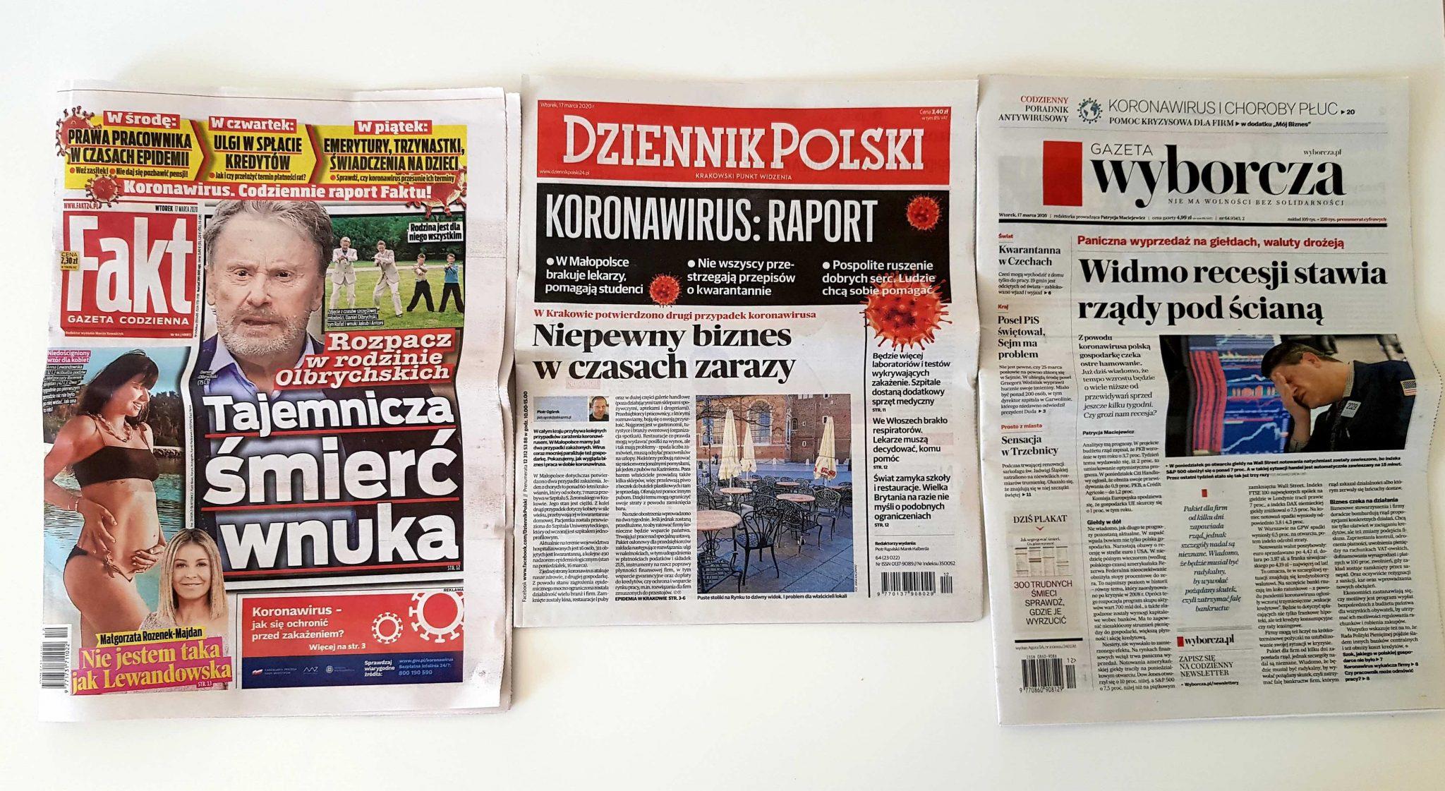 Polonia, coronavirus: alcuni giornali polacchi titolano sull'emergenza