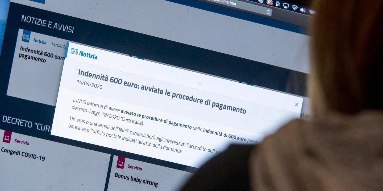 Il messaggio di erogazione del bonus di 600 euro ai lavoratori autonomi