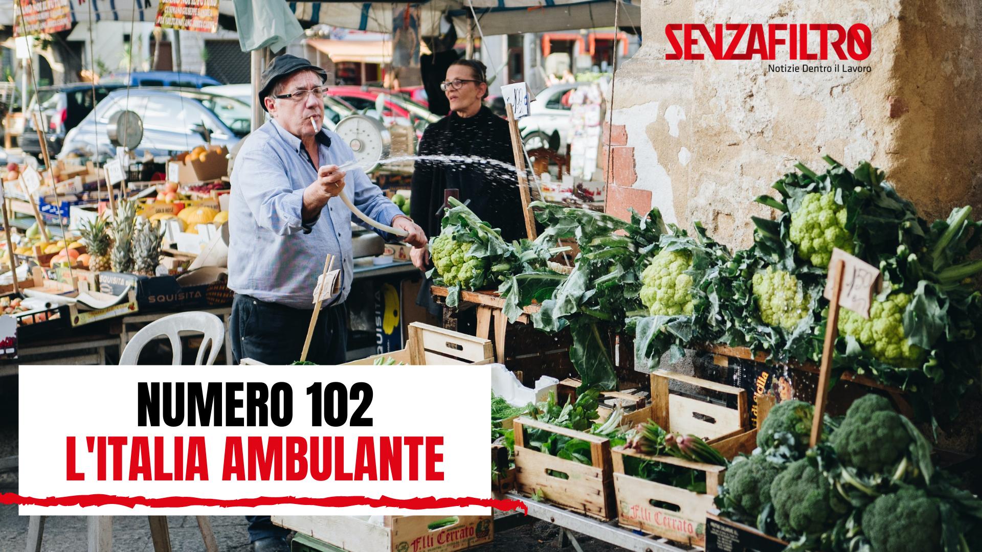 Venditori ambulanti in copertina del mensile 102 di SenzaFiltro: