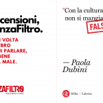"""La copertina di """"Con la cultura non si mangia. Falso!"""", di Paola Dubini"""