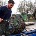 Domenico Rossi, un pescatore veneto, al lavoro su un'imbarcazione.